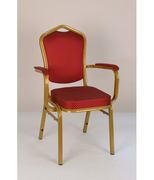 Банкетный стул Квадро 25 с подлокотниками, золото, красная корона